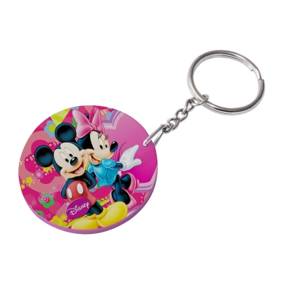 47mm Round Plastic Keychain(Color Edge)-Pink