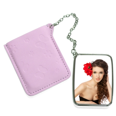 Rectangular Hand Mirror with Pink Leather Case-Pink