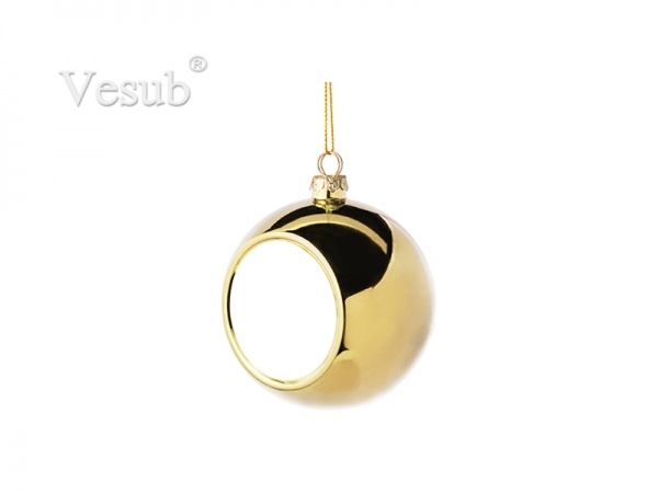 8cm Plastic Christmas Ball Ornament (Gold)