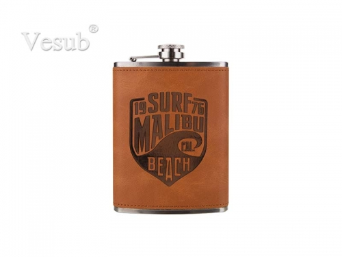 8oz Stainless Steel Flask with PU Cover (Brown)