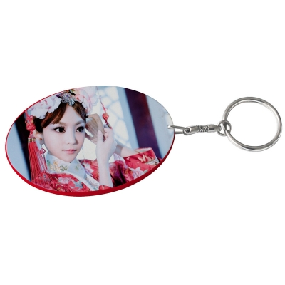Oval Plastic Keychain 57*82mm(Color Edge)-Red