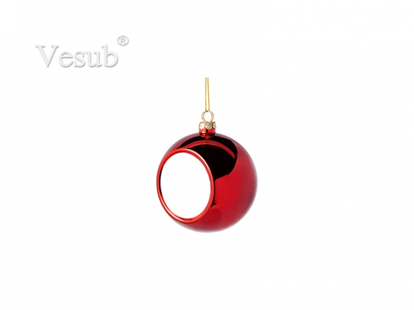 6cm Plastic Christmas Ball Ornament (Red)