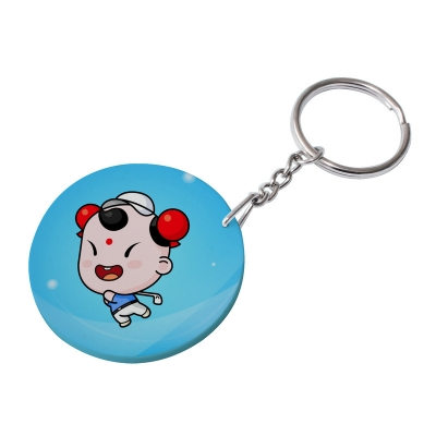 47mm Round Plastic Keychain(Color Edge)-Light Blue