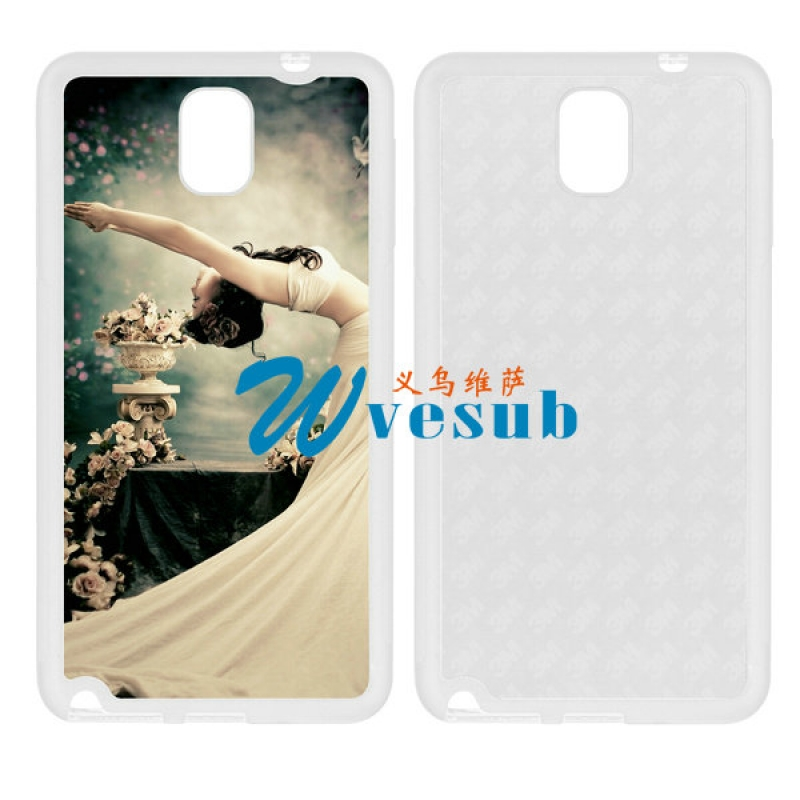 White Rubber Sublimation Samsung Galaxy Note3  Case