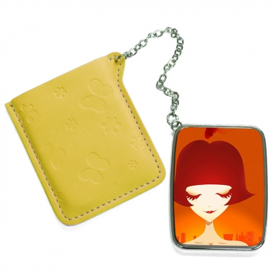 Rectangular Hand Mirror with Pink Leather Case-Yellow