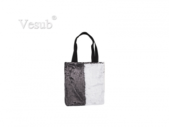 Sequin Double Layer Tote Bag (Black/White, 35*38cm)