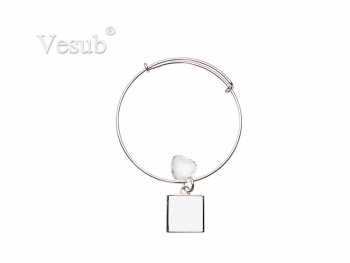 Adjustable Photo Bracelet W/ Round Insert (One Square)