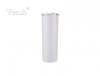 20oz/600ml Stainless Steel Tumbler with Straw & Lid (White)
