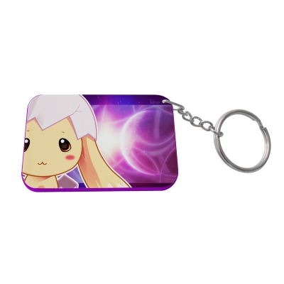 Rectangular Plastic Keychain 48*68mm(Color Edge)-Purple