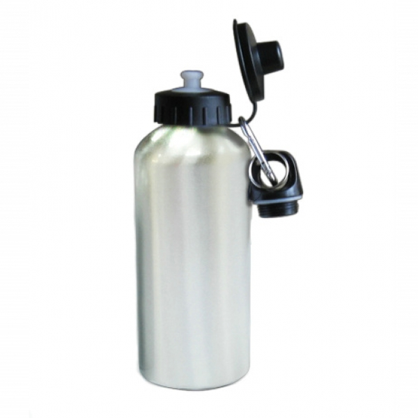 600ml Aluminium Water Bottle With Two Tops (Silver)