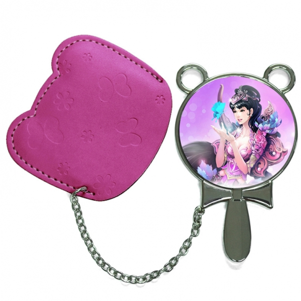 Round Hand Mirror with Leather Pink Case-Purplish Red