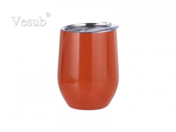 12oz Stainless Steel Stemless Wine Cup (Orange)