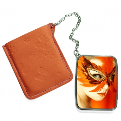 Rectangular Hand Mirror with Pink Leather Case-Orange