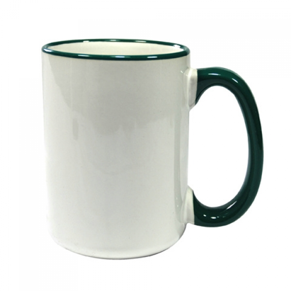 15oz Rim Handle Mug-Dark Green