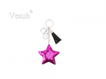 Sequin Keychain w/ Tassel and Insert (Purple Red Star)