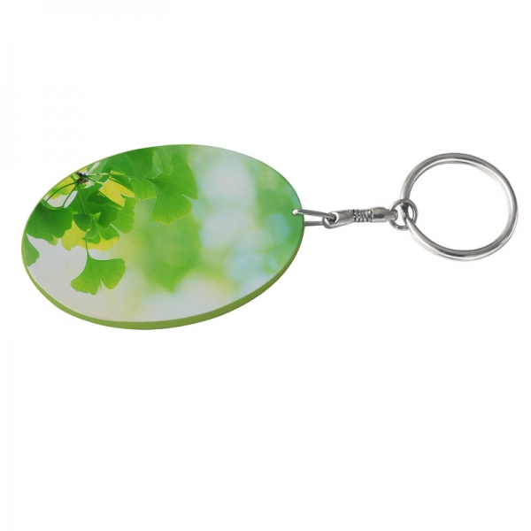 Oval Plastic Keychain 48*68mm(Color Edge)-Light Green
