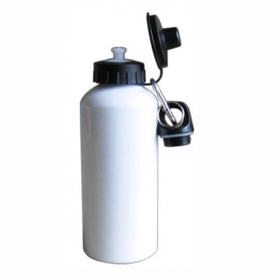 400ml Aluminium Water Bottle  With Two Tops-White