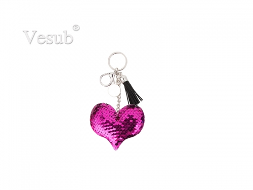Sequin Keychain w/ Tassel and Insert (Purple Red Heart)
