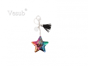 Sequin Keychain w/ Tassel and Insert (Mixed-Color Star)