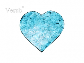 Flip Sequins Adhesive (Heart, Light Blue W/ White)