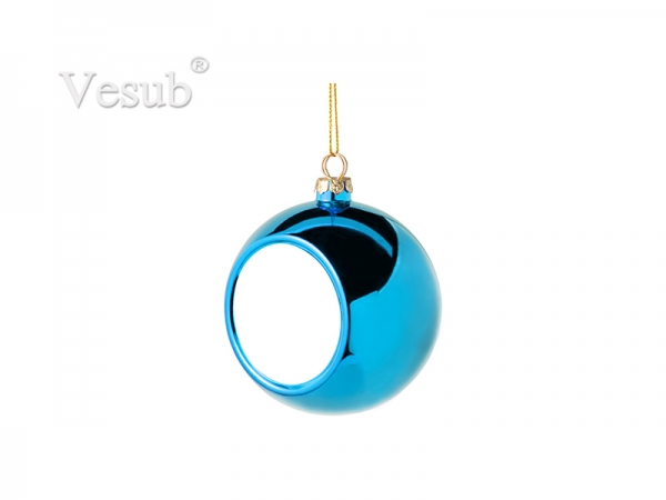 8cm Plastic Christmas Ball Ornament (Light Blue)