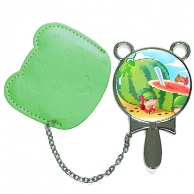 Round Hand Mirror with Leather Pink Case-Green
