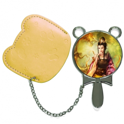 Round Hand Mirror with Leather Pink Case-Yellow