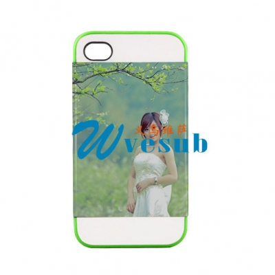 2 in 1 3D iPhone 4/4S Frosted Card Insert Cover-Green
