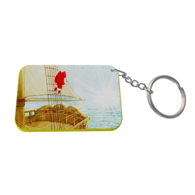 Rectangular Plastic Keychain 48*68mm(Color Edge)-Yellow