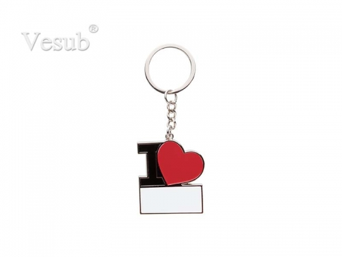 Sublimation Keychain with Red Heart (I Love)