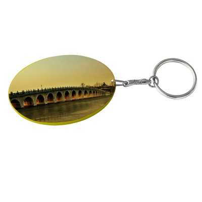 Oval Plastic Keychain 48*68mm(Color Edge)-Yellow