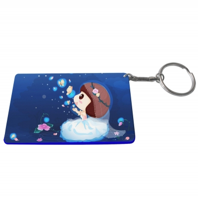 Credit Card Plastic Keychain 53*85mm(Color Edge)-Dark Blue