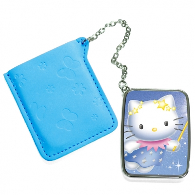 Rectangular Hand Mirror with Pink Leather Case-Light Blue
