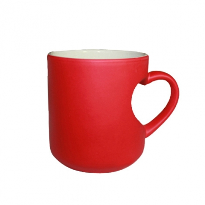 Heart Handle Color Chaning Mug-Red