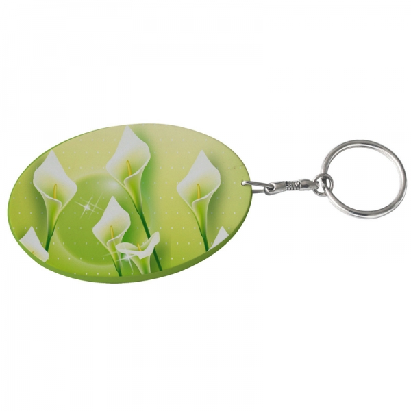 Oval Plastic Keychain 57*82mm(Color Edge)-Light Green