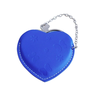Heart Hand Mirror with Leather Pink Case-Dark Blue
