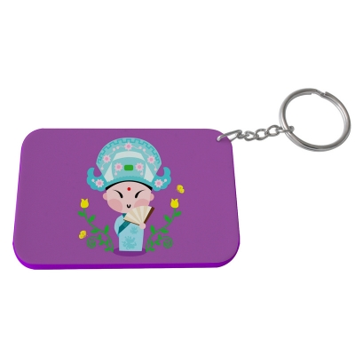 Rectangular Plastic Keychain 57*82mm(Color Edge)-Purple