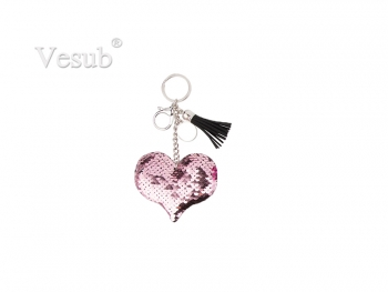 Sequin Keychain w/ Tassel and Insert (Pink Heart)