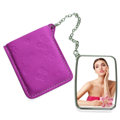 Rectangular Hand Mirror with Pink Leather Case-Maroon