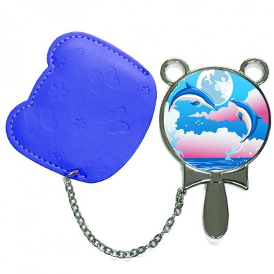 Round Hand Mirror with Leather Pink Case-Dark Blue