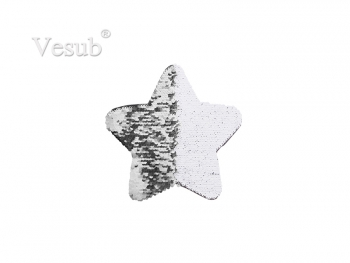 Flip Sequins Adhesive Black Base (Star, Silver W/ White) (18*18cm)