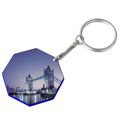 44mm Octangle Plastic Keychain(Color Edge)-Dark Blue