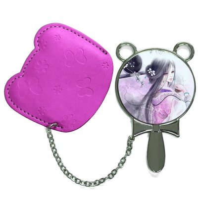 Round Hand Mirror with Leather Pink Case-Maroon