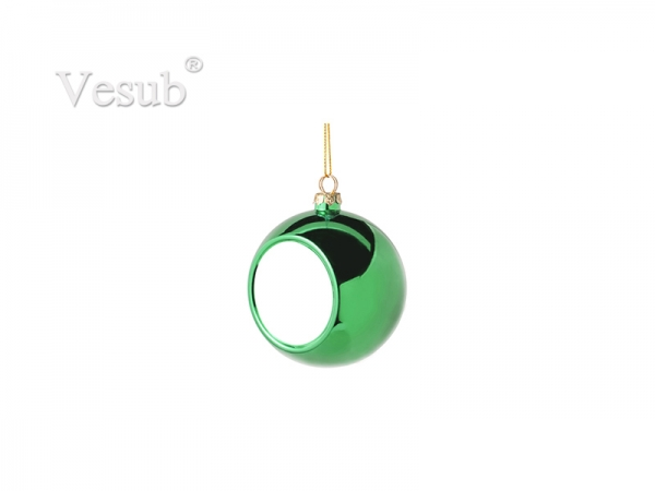 6cm Plastic Christmas Ball Ornament (Green)