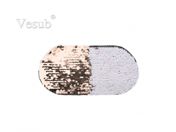 Flip Sequins Adhesive (Oval, Champagne w/ White)