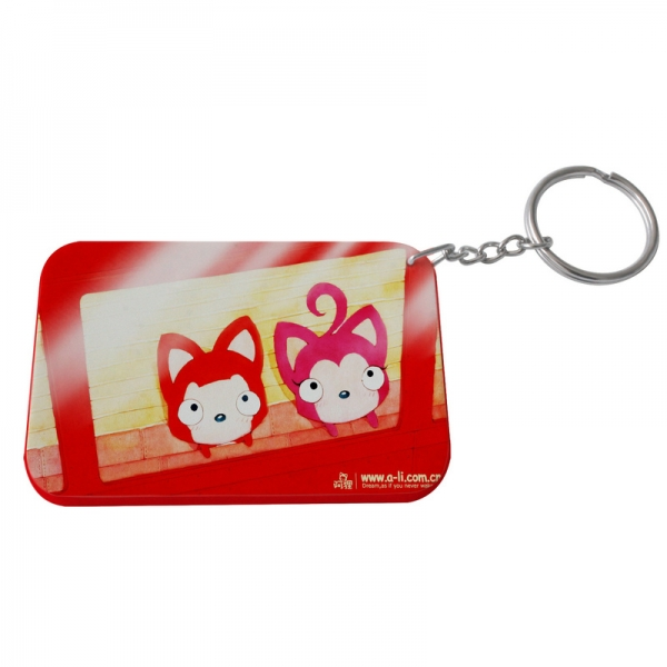 Rectangular Plastic Keychain 57*82mm(Color Edge)-Red