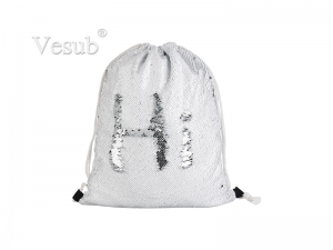 Sequin Drawstring Backpack (White/Silver, 36*45cm)
