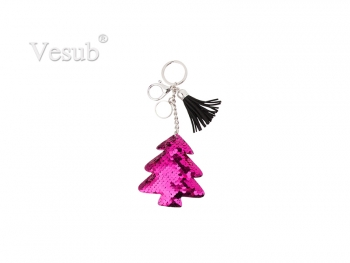 Sequin Keychain w/ Tassel and Insert (Purple Red Christmas Tree)