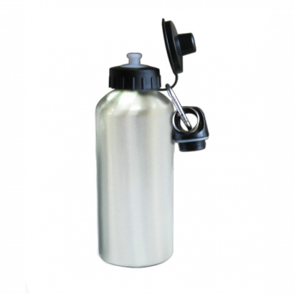 500ml Aluminium Water Bottle With Two Tops-Silver